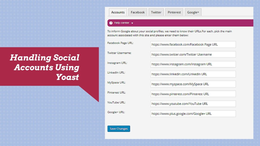Yoast handling social media accounts